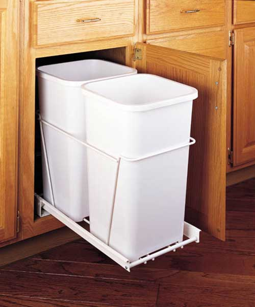 27 QT Double Bin Trash Can Pull Out