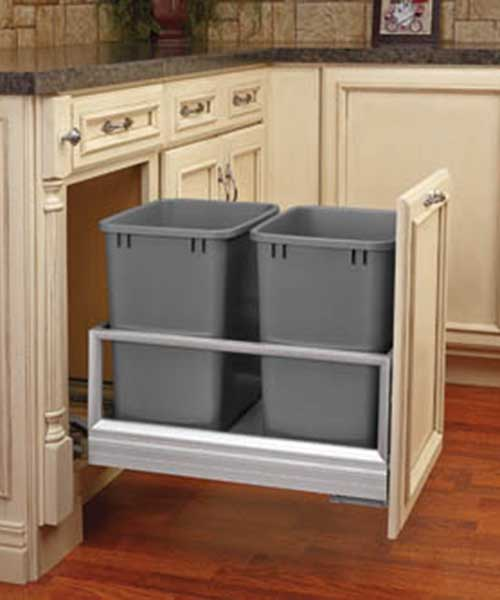 5149-18DM-2 30 qt soft close double bin trash can pull out