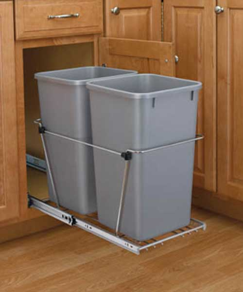 35 QT Silver Double Bin Trash Can Pull Out