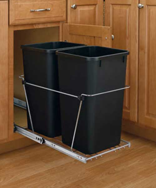 35 QT Black Double Bin Trash Can Pull Out