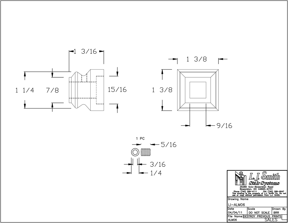 LI-ALM06 Flat Shoe For 1/2in Square Baluster PDF Drawing