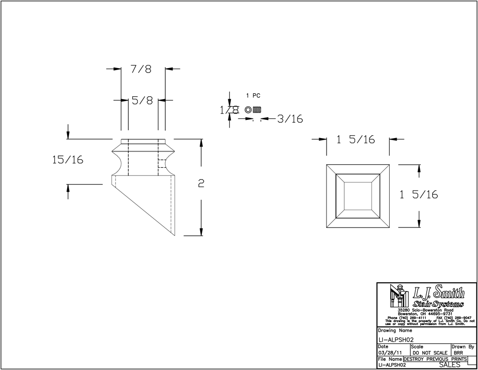 LI-ALPSH02 Pitch Shoe For 1/2in Square Baluster PDF Drawings