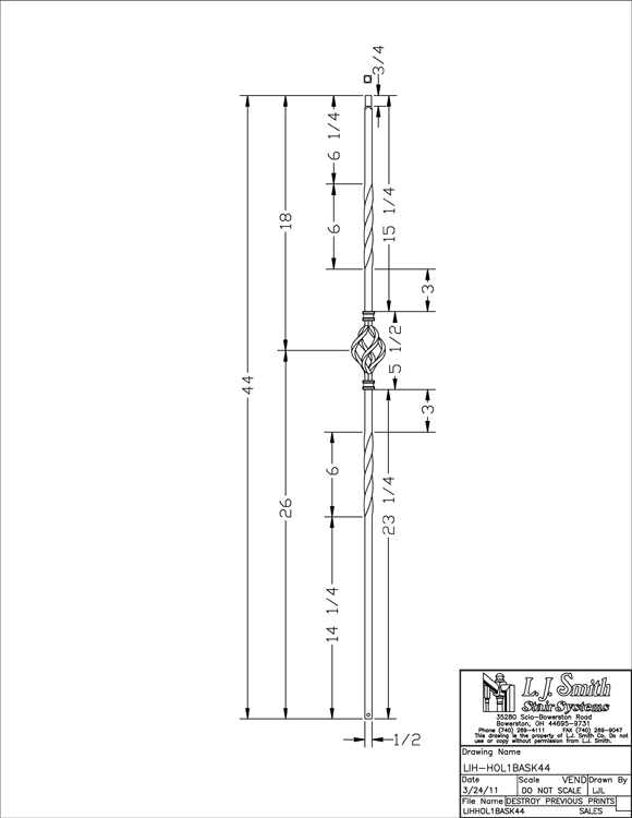 LIH-HOL1BASK44 Single Basket Baluster PDF Drawing
