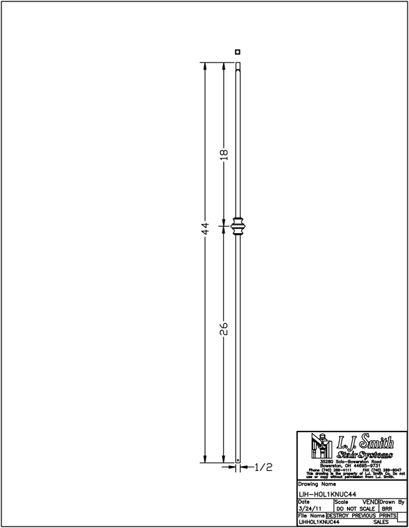 LIH-HOL1KNUC44 Single Knuckle Baluster PDF Drawing