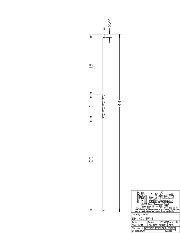 LIH-HOL1TW44 Single Twist Baluster PDF Drawing