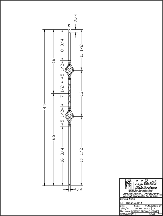 LIH-HOL2BASK44 Double Basket Baluster PDF Drawing