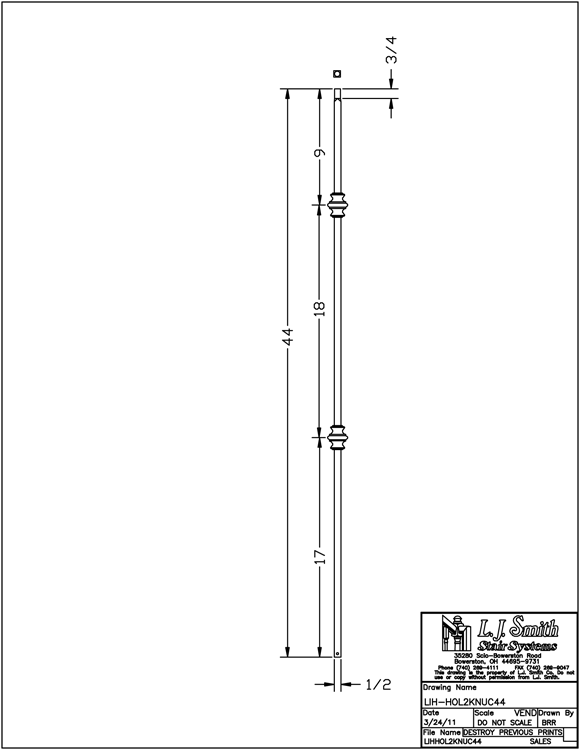 LIH-HOL2KNUC44 Double Knuckle Baluster PDF Drawing