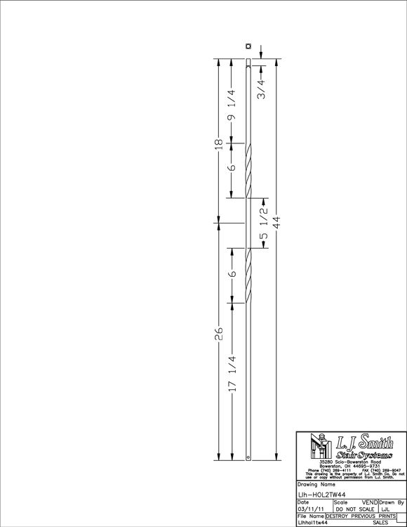 LIH-HOL2TW44 Double Twist Baluster PDF Drawing