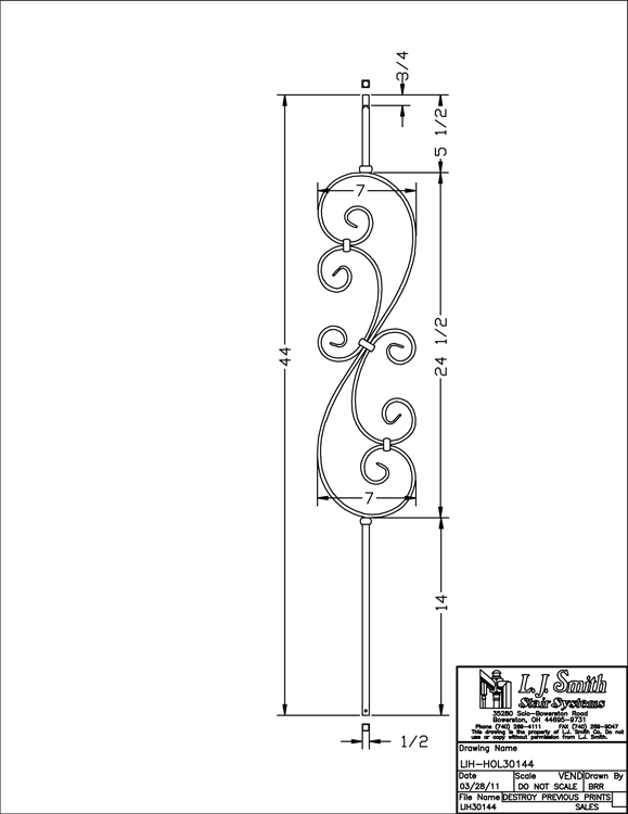 LIH-HOL30144 Large Scroll Baluster PDF Drawing