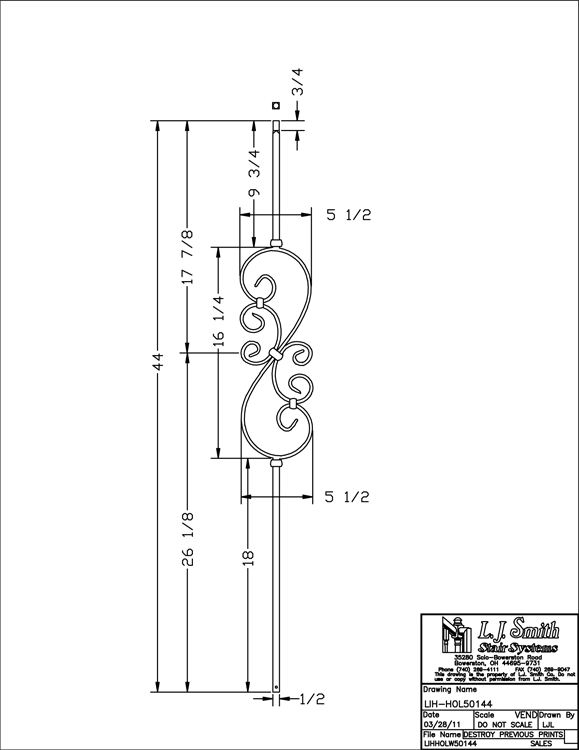 LIH-HOL50144 Small Scroll Baluster PDF Drawing