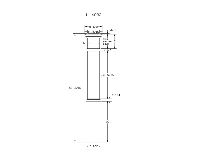 LJ-4092 Plain Panel Box Newel PDF Drawing