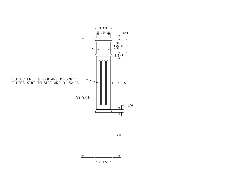 LJ-4093 Fluted Panel Box Newel PDF Drawing