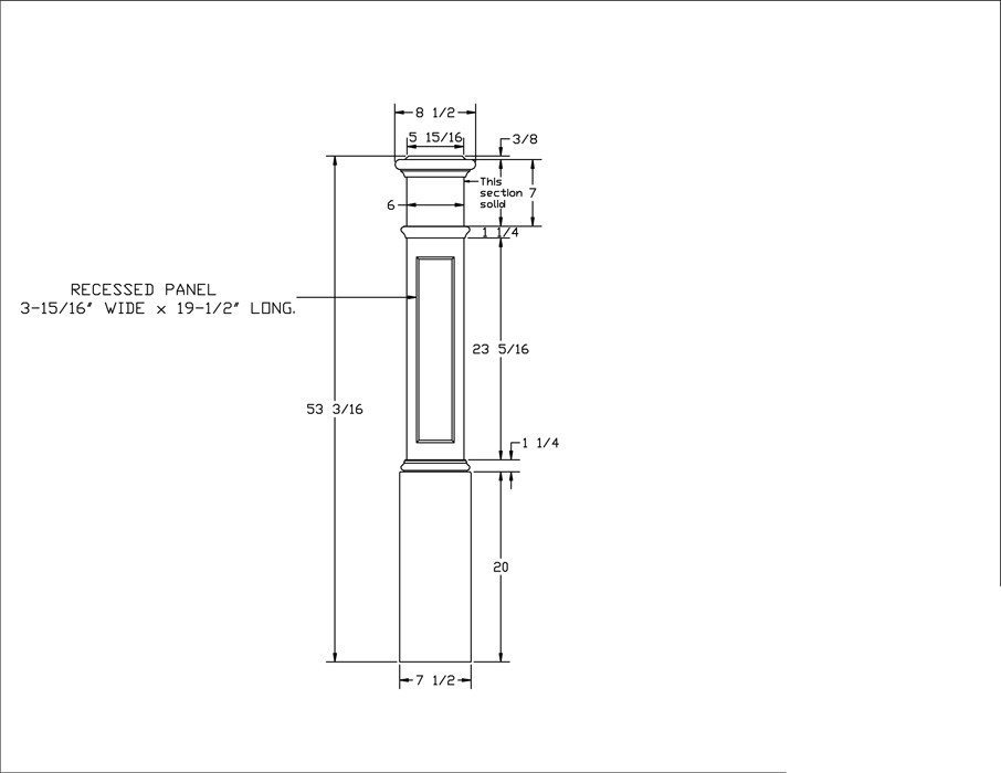 LJ-4094 Recessed Panel Box Newel PDF Drawing