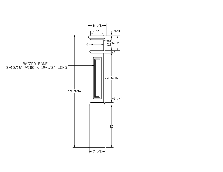 LJ-4095 Raised Panel Box Newel PDF Drawing