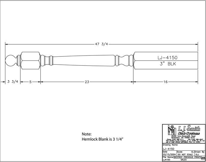 LJ-4150 Shortest Utility Newel PDF Drawing