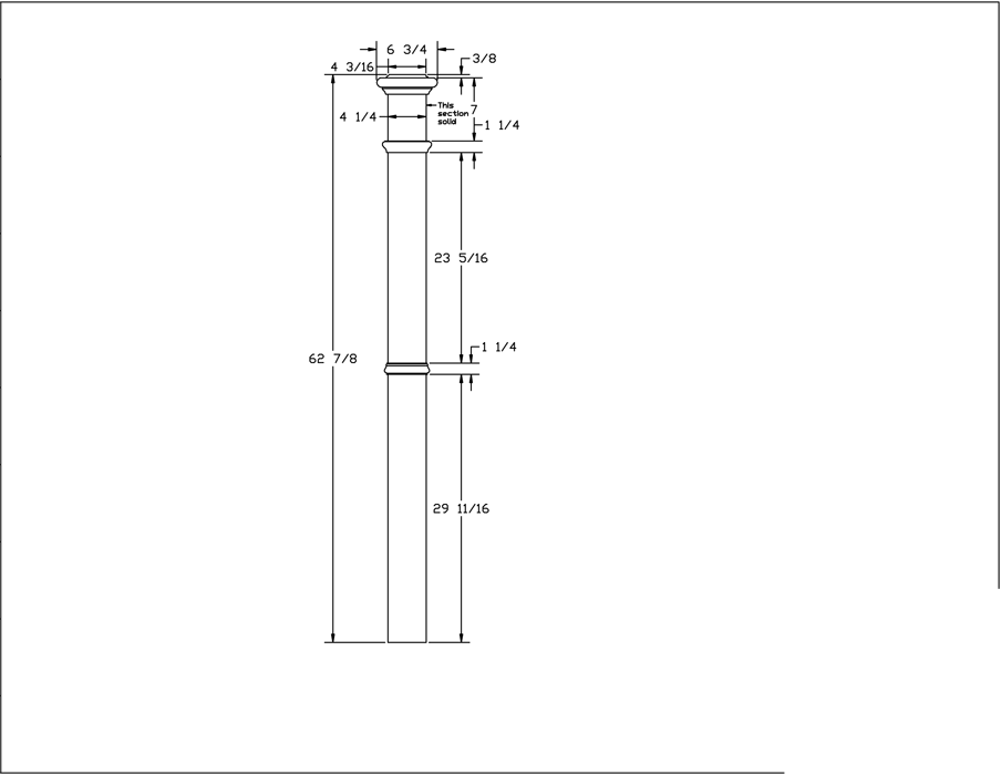 LJ-4392 Plain Panel Box Newel PDF Drawing