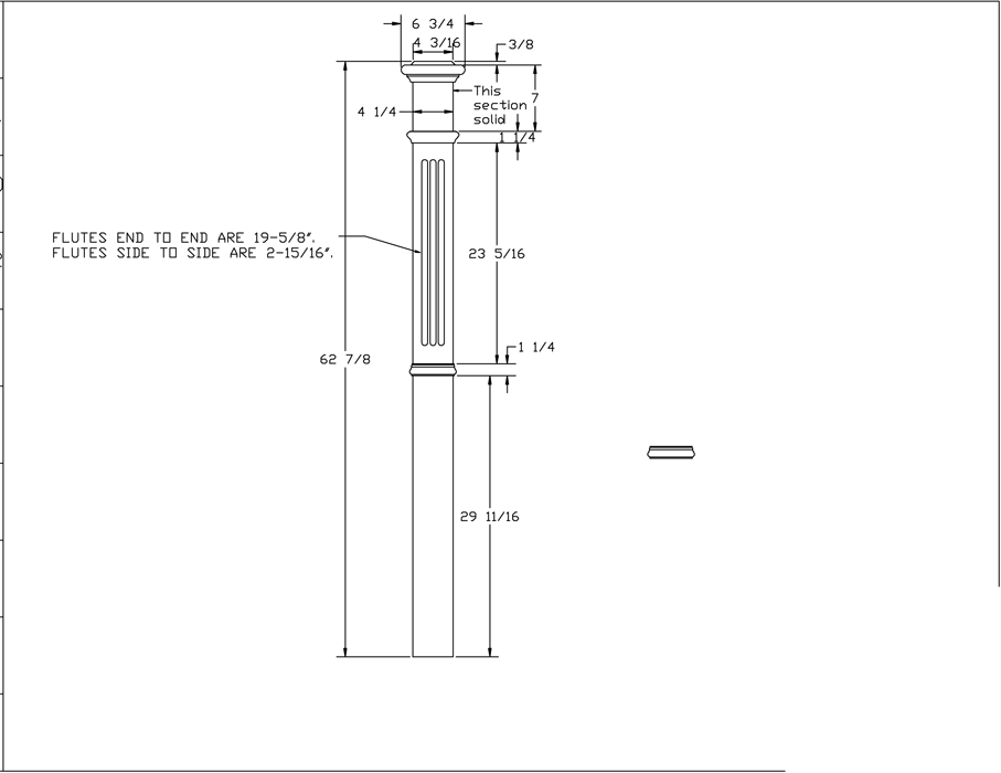 LJ-4393 Fluted Panel Box Newel PDF Drawing