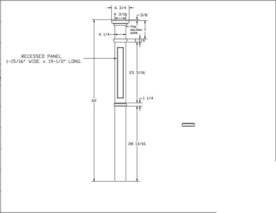 LJ-4394 Recessed Panel Box Newel PDF Drawing