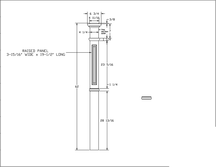 LJ-4395 Raised Panel Box Newel PDF Drawing