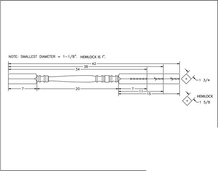 LJ-5005 Square Top Baluster PDF Drawing