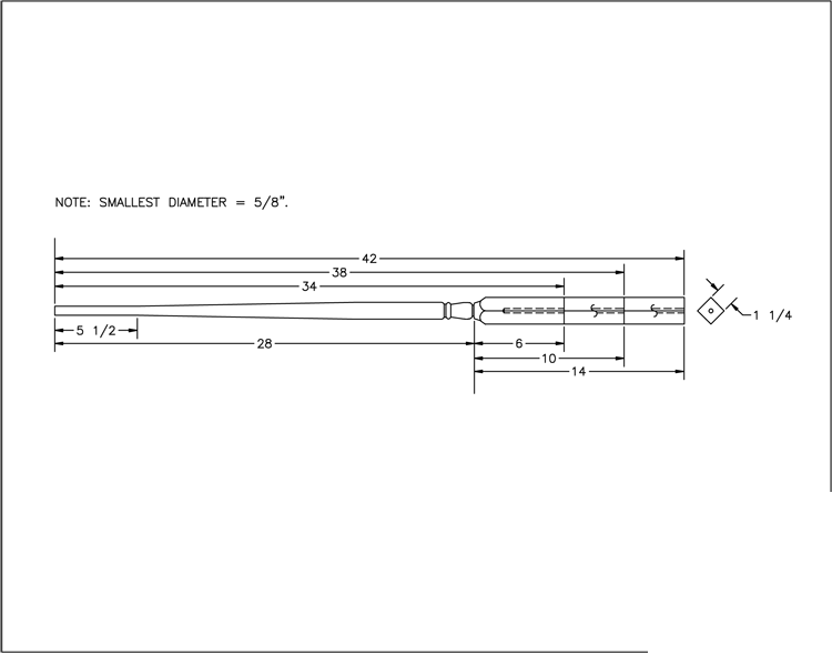 LJ-5015 Pin Top Baluster PDF Drawing