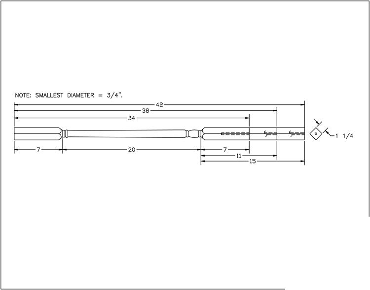 LJ-5141 Square Top Baluster PDF Drawing