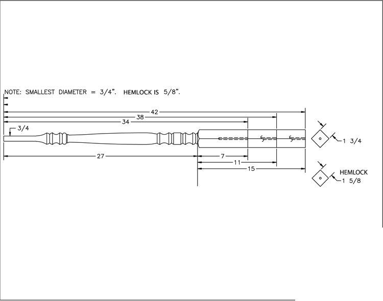 LJP-5300 Pin Top Baluster PDF Drawings