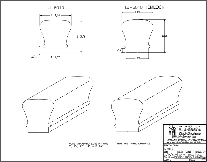 LJ6010 Non-Plowed Handrail PDF Drawing