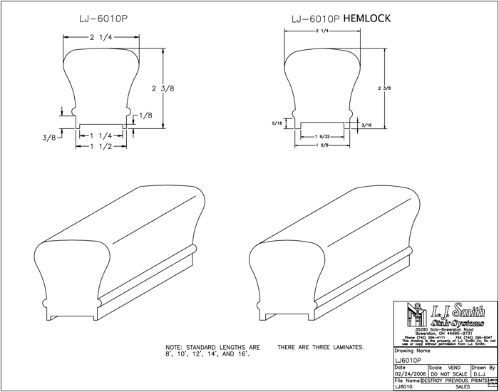 LJ-6010P Plowed Handrail PDF Drawing