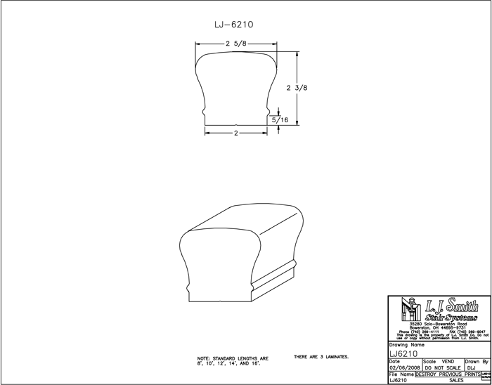 LJ-6210 Non-Plowed Handrail PDF Drawings