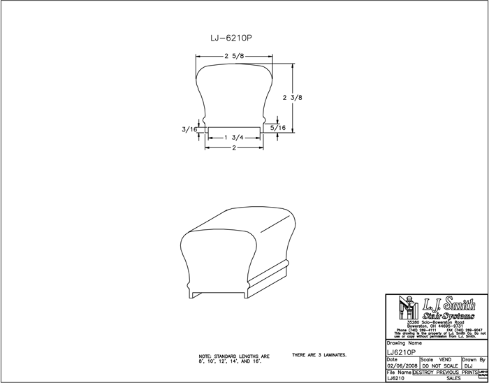 LJ-6210P Plowed Handrail PDF Drawings