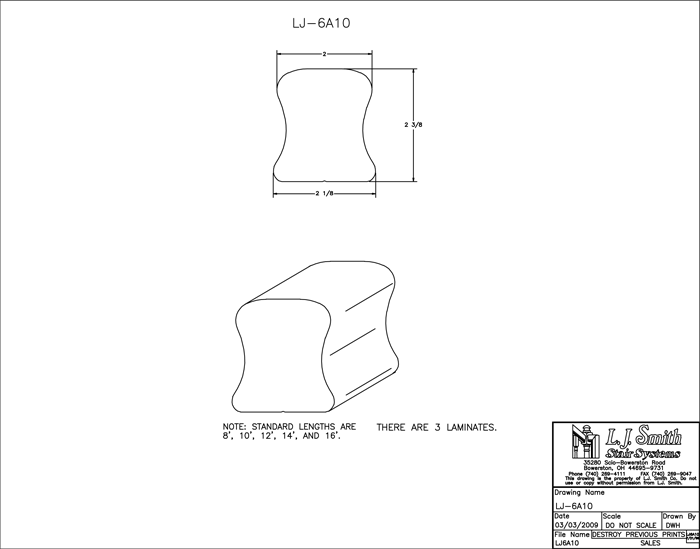 LJ-6A10 Non-Plowed Handrail PDF Drawing