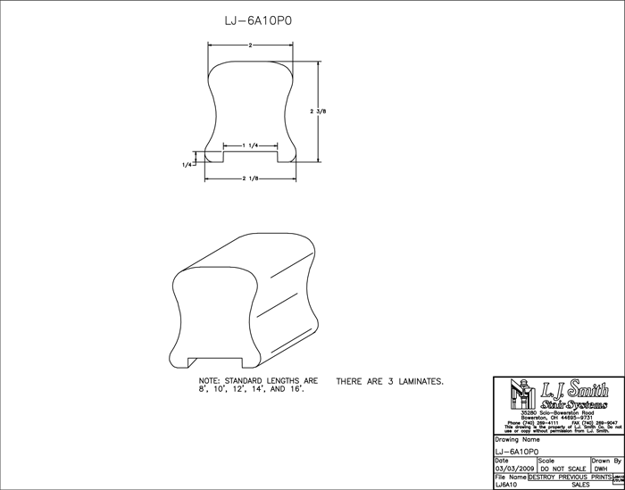 LJ-6A10P0 Plowed Handrail PDF Drawing