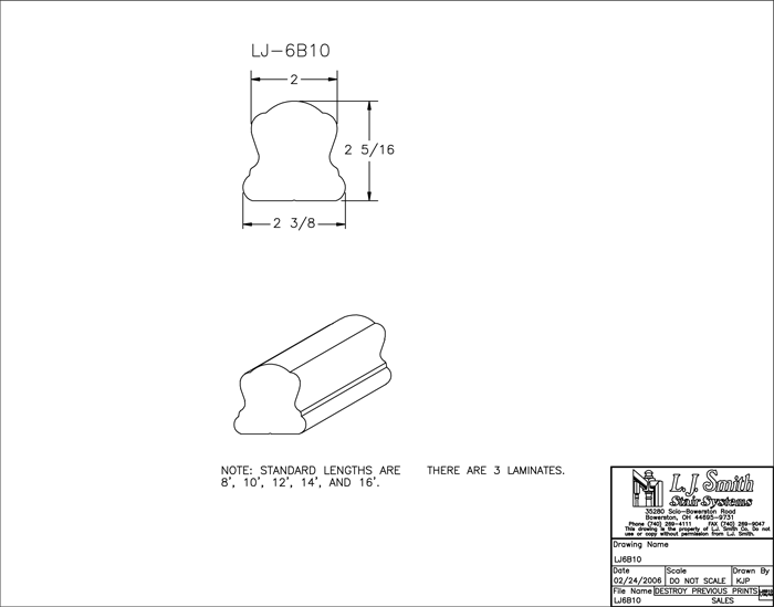 LJ-6B10 Non-Plowed Handrail PDF Drawing