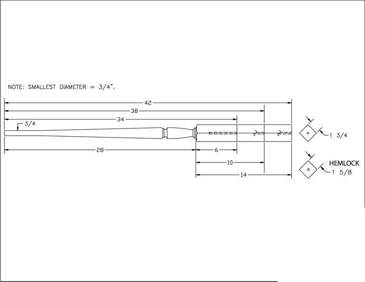 LJP-2015 Pin Top Baluster PDF Drawing