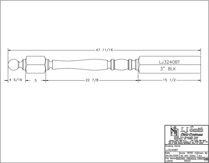 LJP-3240BT Challis Shortest Utility Newel PDF Drawing